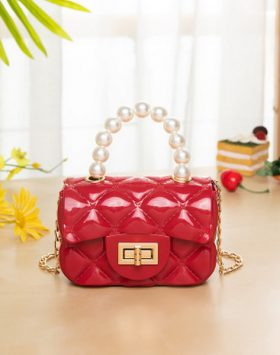 Terbaru Tas Model Jelly Mutiara Mini Warna Merah BI697