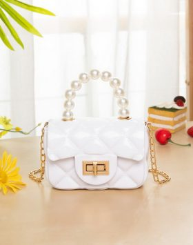 Terbaru Tas Model Jelly Mutiara Mini Warna Putih BI696